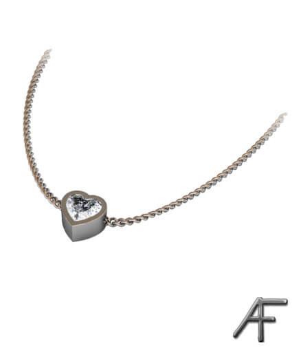 diamanthjärta i 18 k vitguld