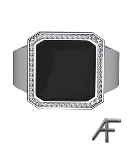 klackring vitguld med onyx och diamanter