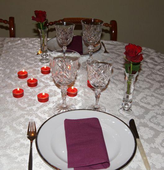 Bordækning til Valentinsdag