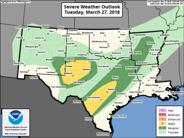 Severe Thunderstorms Possible Across Central, East TX Tonight, South TX, Much of LA, West MS Tomorrow – Gulf Coast Storm Center
