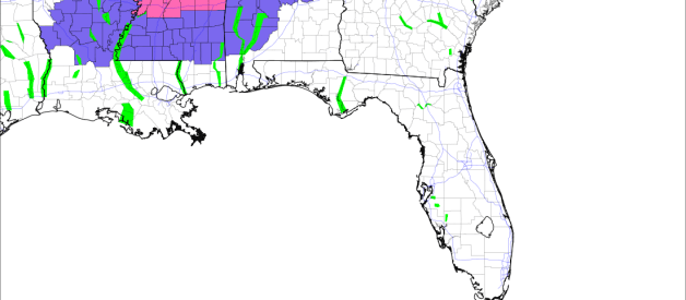 Accumulating Snow for Parts of LA, MS, and AL Tomorrow; Impacts Likely