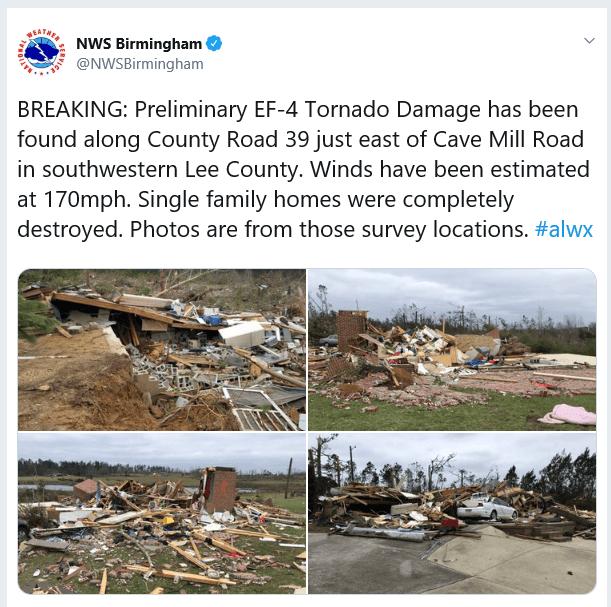 Lee County, AL Tornado Now Preliminarily Rated an EF-4