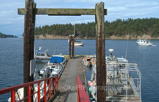The community dock at Horton Bay, Mayne Island, BC