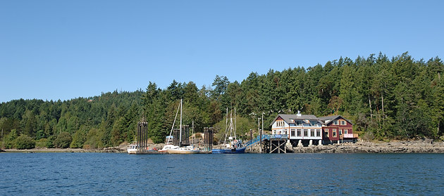 View of Hope Bay, North Pender Island from the water
