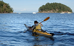 Kayaking in Bennett Bay, Mayne Island, British Columbia