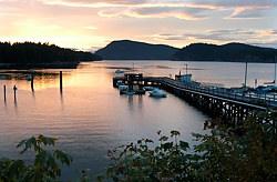 The large dock at Miners Bay, Mayne Island, British Columbia