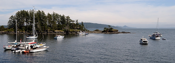 The moorage at Princess Bay, Portland Island, British Columbia