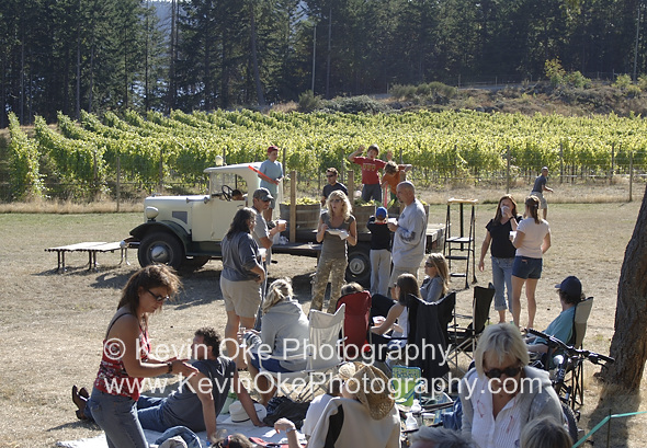 Enjoying goood food and drink at the Saturna Island Family Estate Winery fall harvest