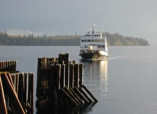 MV Tenaka approaching Whaletown on Cortes Island