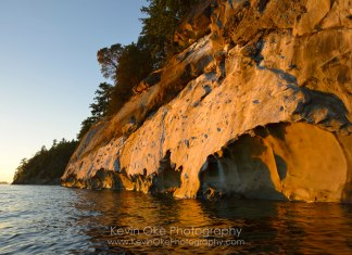 Weather sculpted sandstone, Tent Island, Gulf Islands, British Columbia, Canada