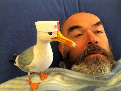 Seamus the Seagull wearing red cross hat with sick man
