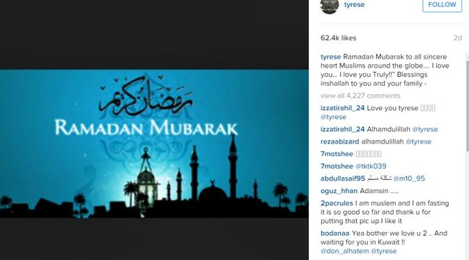 Tyrese mengucapkan Ramadhan