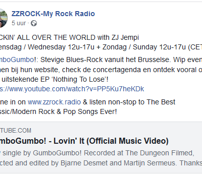 We're super grateful to get support from ZZ Rock Radio. Thanks guys!