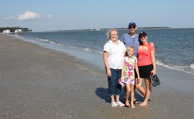 On the beach with Nana