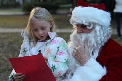 Sharing her Letter with Santa