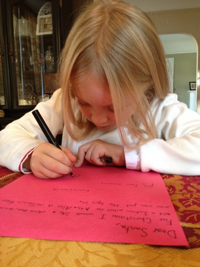 Writing her Letter to Santa