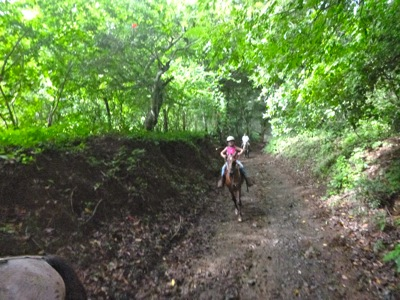 Camille Begins Cantering Up the Path