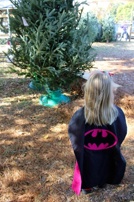 Bat Girl at the Tree Lot