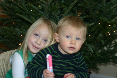 Cousins by the Christmas Tree