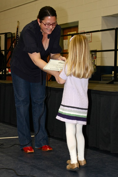 Receiving Award at the PTA Meeting