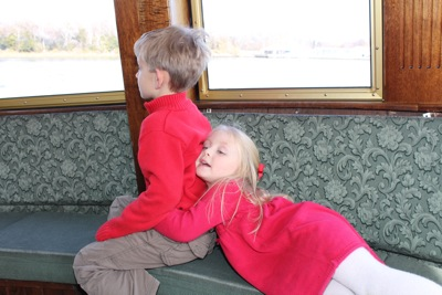 Camille and Will on the Ferry
