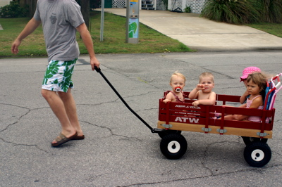 Little Kids in a Wagon