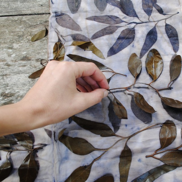 Eco-printing with eucalyptus leaves