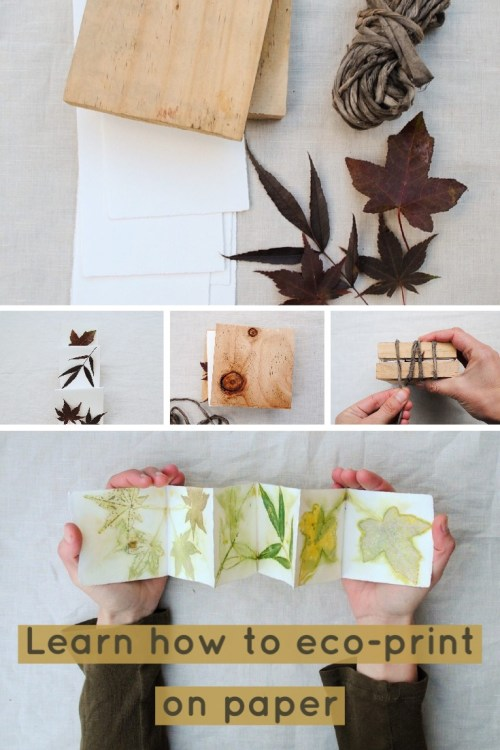 Eco-printing on paper tutorial using autumn leaves and watercolour paper. Step by step instructions.