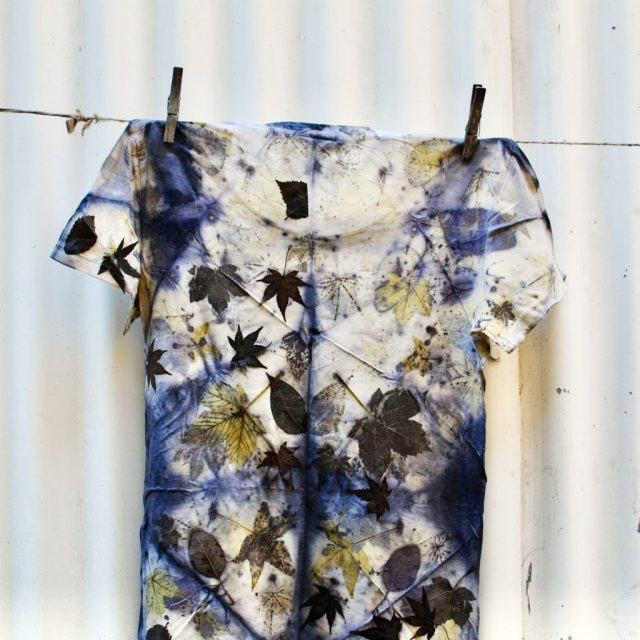 Shibori eco-print on cotton