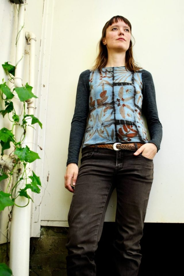 Shibori natural dyeing and eco-print woollen vest by Gumnut Magic