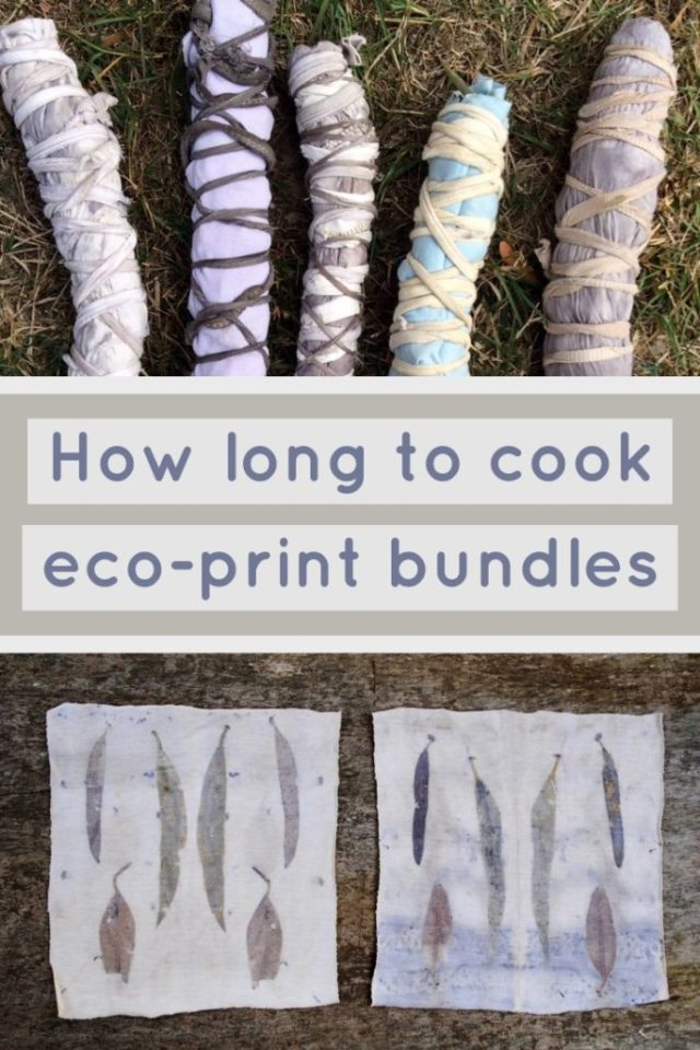 A comparision of cooking times for cotton eco-print bundles