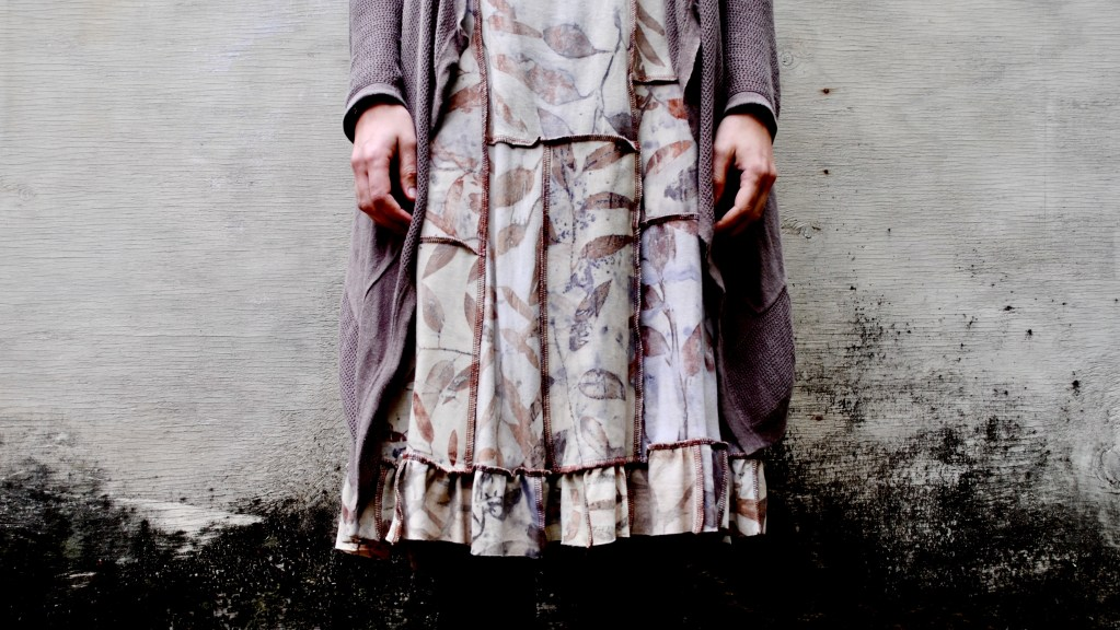 Eco-printed, naturally dyed dress by Gumnut Magic
