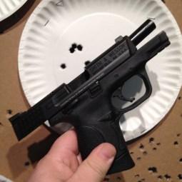At close range shooting at the previous bullet hole.
