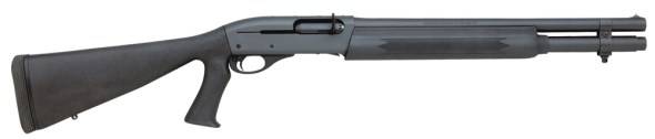 The Remington 1100 also makes an excellent tactical platform. Author's tactical team has a customized short barrel model as part of its SRT team equipment. This 1100 Tactical features a fixed pistol grip synthetic stock, 6-round extended mag tube, bead sights, an enlarged tactical charging handle and sling swivel mounts.
