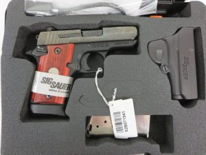 On Consignment:  Un-Fired Sig Sauer P938 Engraved 9mm w/ extra magazine and hard case  $695