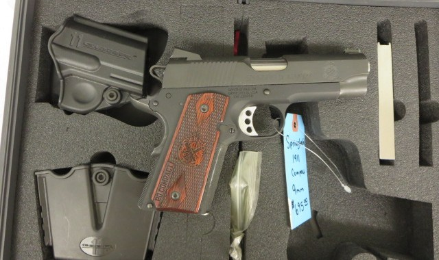 Used Springfield 1911 Compact 9mm w/ extra magazine, holster