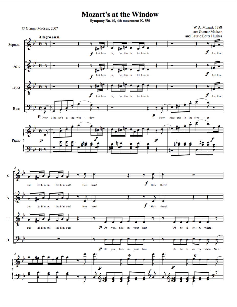 Mozart's At the Window (SATB)