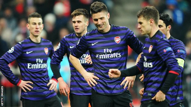 Giroud, Ramsey, Koscielny at Bayern