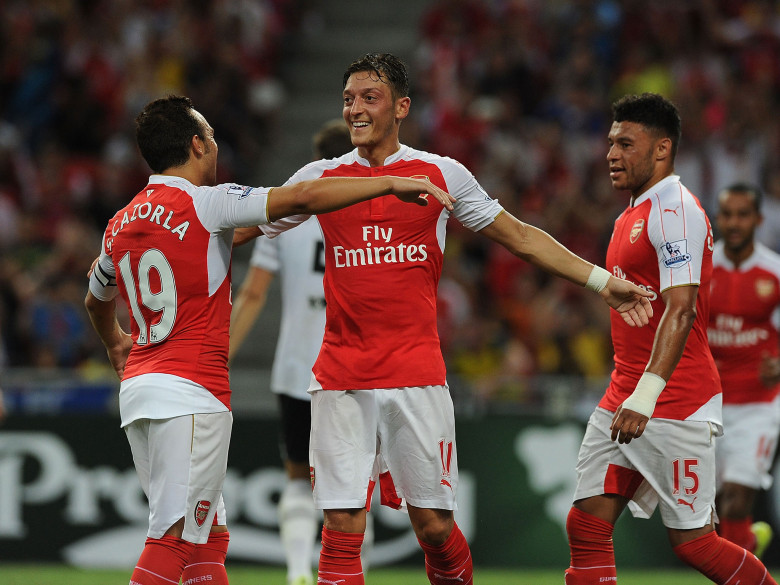 Cazorla, Ozil and Walcott all got on the score-sheet. It was Ox's mistake that cost Arsenal their goal...