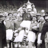 Alex James in happier times: holding the 1936 FA Cup