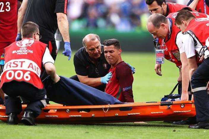 Ronaldo was in tears after having to leave the field on a stetcher