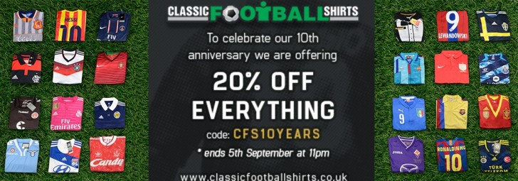 The world's largest selection of classic footie shirts - ALL ON SALE - for one week only..!