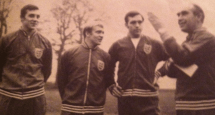 John on England duty with Francis Lee, Jeff Astle and Alf Ramsey