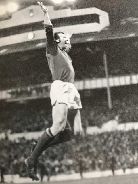 Bob leaps in celebration at the final whistle at White Hart Lane