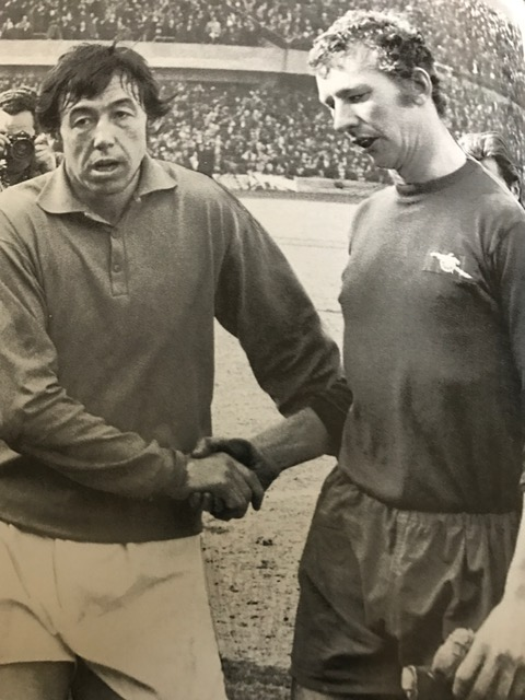 The two keepers Bob Wilson and Gordon Banks show the strain of playing in the FA Cup Semi-Final