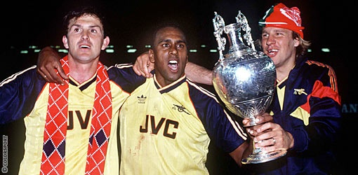 Martin Hayes Rocky Rocastle and Merse celebrate at Anfield in 1989