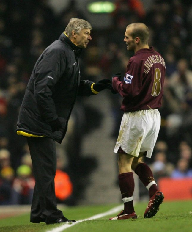 Freddie takes in some instructions from Arsene Wenger