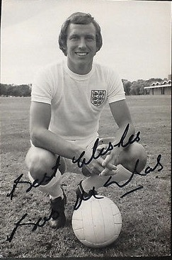 Bob in the England 1970 World Cup kit he got to play in
