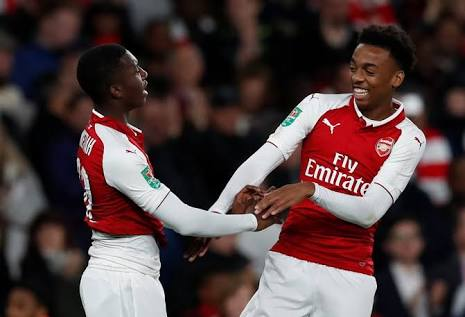 Nkeitah and Willock - two of the many youngsters Wenger has 'blooded' in the League Cup