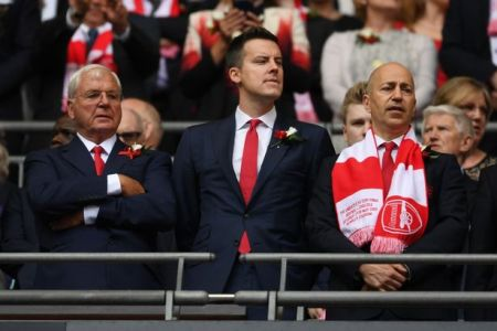Chief Whip? Josh Kroenke with Gazidis and Sir Chips